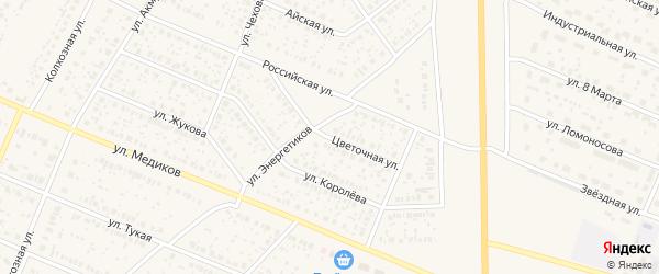Цветочная улица на карте села Раевского с номерами домов