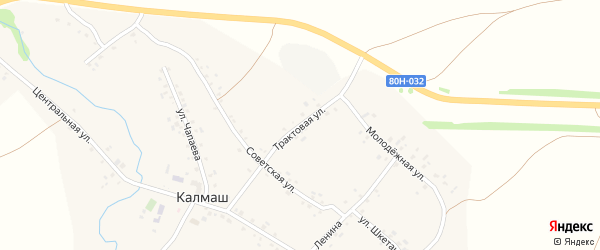 Трактовая улица на карте деревни Калмаша с номерами домов