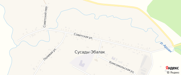 Советская улица на карте села Сусады-Эбалак с номерами домов