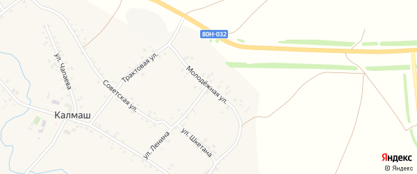 Молодежная улица на карте деревни Калмаша с номерами домов