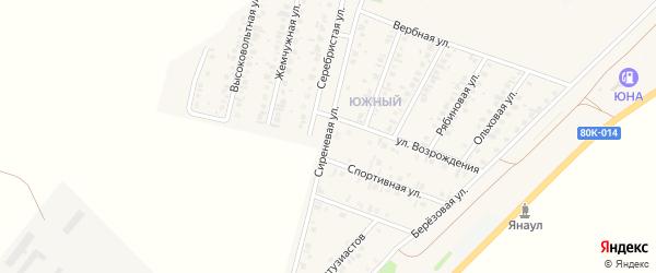 Сиреневая улица на карте Янаула с номерами домов