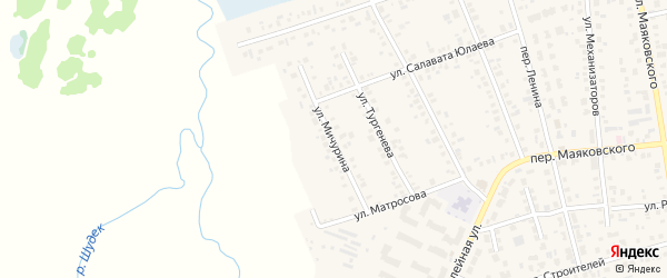 Улица Мичурина на карте Янаула с номерами домов