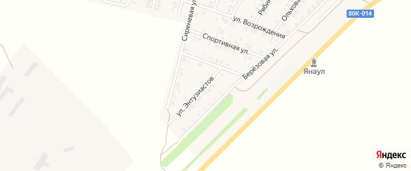 Улица Энтузиастов на карте Янаула с номерами домов