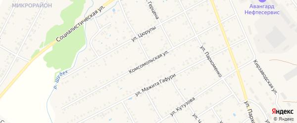 Комсомольская улица на карте Янаула с номерами домов