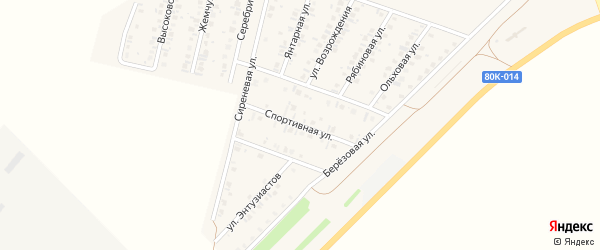 Спортивная улица на карте Янаула с номерами домов