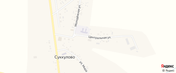 Центральная улица на карте села Суккулово с номерами домов
