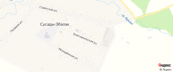 Комсомольская площадь на карте села Сусады-Эбалак с номерами домов