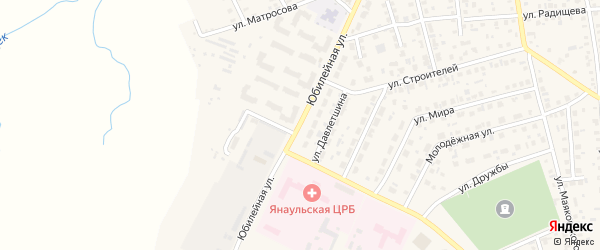 Юбилейная улица на карте Янаула с номерами домов