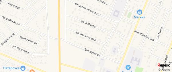 Улица Ломоносова на карте села Раевского с номерами домов