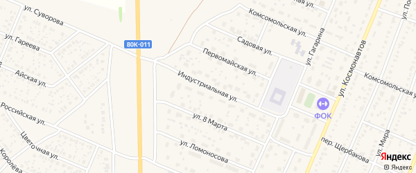 Индустриальная улица на карте села Раевского с номерами домов