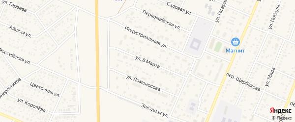 Улица 8 Марта на карте села Раевского с номерами домов