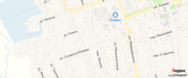Переулок Ленина на карте Янаула с номерами домов