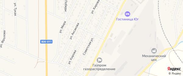 Советская улица на карте села Раевского с номерами домов