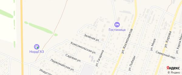 Зеленая улица на карте села Раевского с номерами домов
