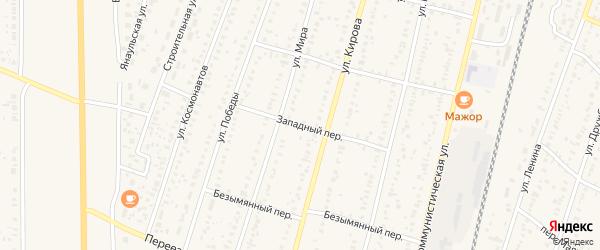 Западный переулок на карте села Раевского с номерами домов