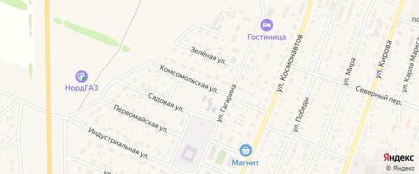 Комсомольская улица на карте села Раевского с номерами домов