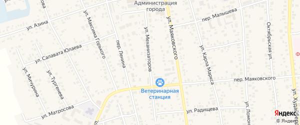Улица Механизаторов на карте Янаула с номерами домов