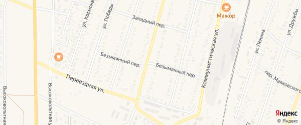 Безымянный переулок на карте села Раевского с номерами домов