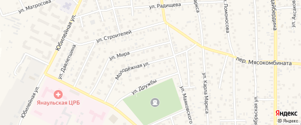 Молодежная улица на карте Янаула с номерами домов