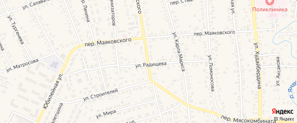 Улица Маяковского на карте Янаула с номерами домов