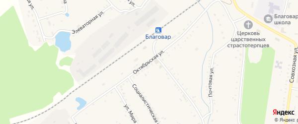 Октябрьская улица на карте села Благовара с номерами домов