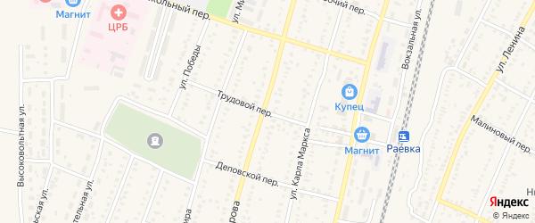 Трудовой переулок на карте села Раевского с номерами домов