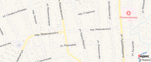 Переулок Маяковского на карте Янаула с номерами домов