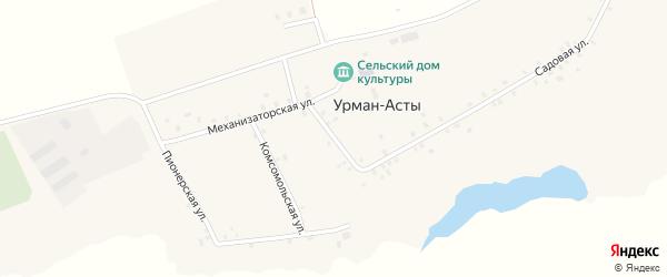 Школьная улица на карте деревни Урмана-Асты с номерами домов