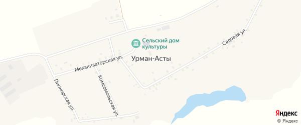 Пионерская улица на карте деревни Урмана-Асты с номерами домов
