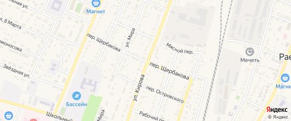 Переулок Щербакова на карте села Раевского с номерами домов