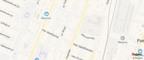 Мясной переулок на карте села Раевского с номерами домов