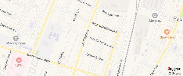 Переулок Островского на карте села Раевского с номерами домов