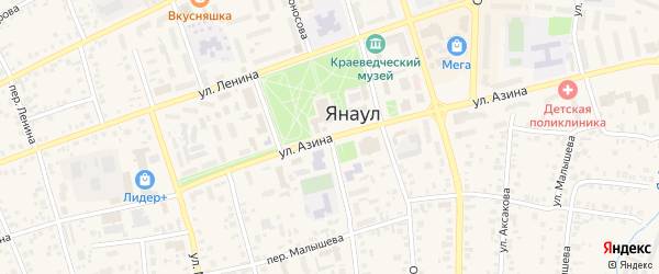 Улица Азина на карте Янаула с номерами домов