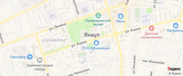 Улица Абзанова на карте Янаула с номерами домов