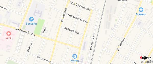 Рабочий переулок на карте села Раевского с номерами домов