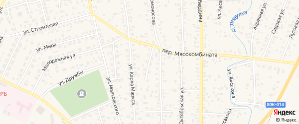 Переулок Ломоносова на карте Янаула с номерами домов