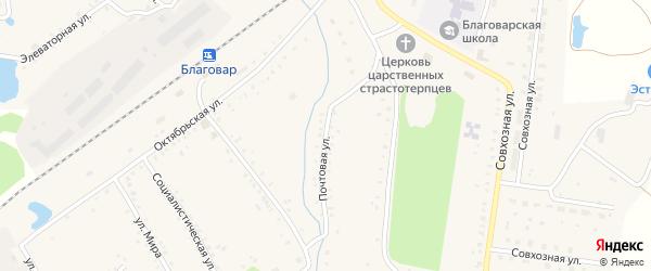 Почтовая улица на карте села Благовара с номерами домов