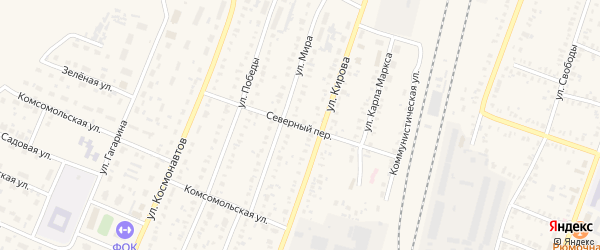 Северный переулок на карте села Раевского с номерами домов