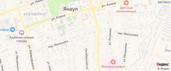 Переулок Малышева на карте Янаула с номерами домов