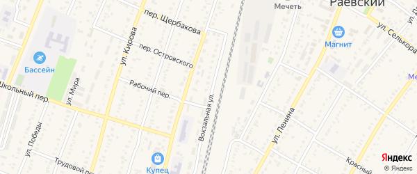 Переулок Кочегаров на карте села Раевского с номерами домов