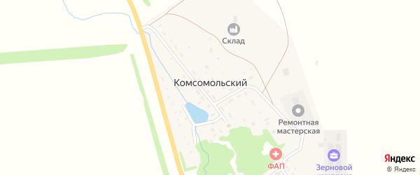 Дорожная улица на карте села Комсомольского с номерами домов