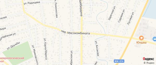 Переулок Мясокомбината на карте Янаула с номерами домов
