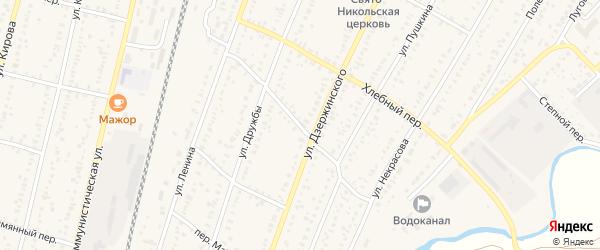 Южный переулок на карте села Раевского с номерами домов