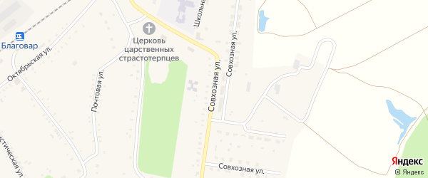 Совхозная улица на карте села Благовара с номерами домов