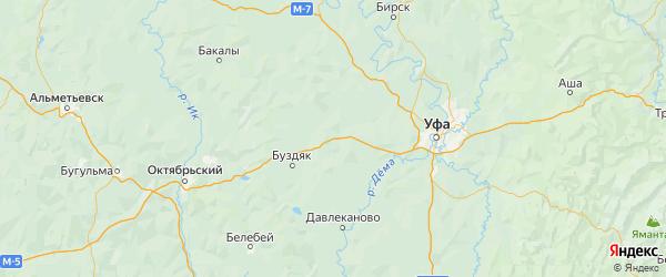 Карта Благоварского района республики Башкортостан с городами и населенными пунктами