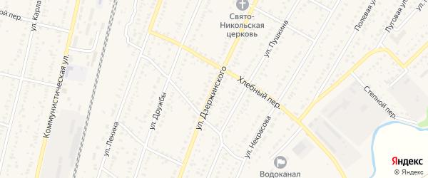 Улица Дзержинского на карте села Раевского с номерами домов