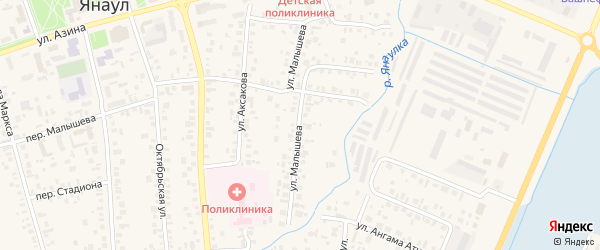 Улица Малышева на карте Янаула с номерами домов
