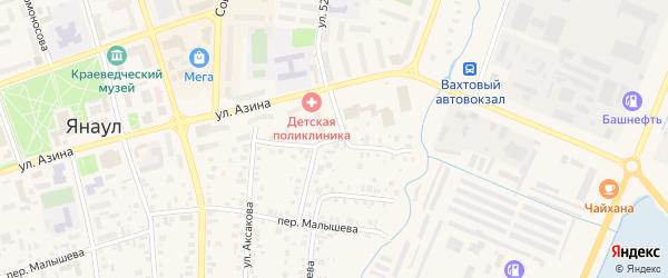 Переулок Аксакова на карте Янаула с номерами домов
