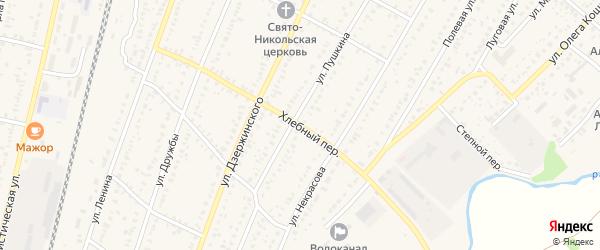 Хлебный переулок на карте села Раевского с номерами домов