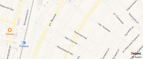 Красный переулок на карте села Раевского с номерами домов